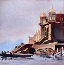 The Ganges at Varanasi (watercolour) by Derek Hopper