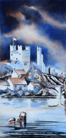 Richmond Castle from the River (watercolour) by Derek Hopper