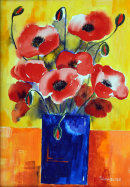 Poppies in blue vase (acrylic) by Sheila Linkleter