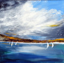 White sails on the Loch (acrylic) by Sheila Linkleter