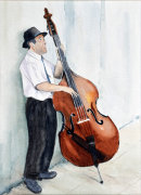 Street Musician (watercolour) by Rosie Muncaster