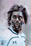 Emmanuel Adebayor (watercolour) by Frank Rustage