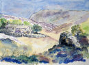 Farmhouse in Nidderdale (watercolour) by Hilary Squires
