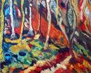 Forest Flame (acrylic/oil) by Sandra Jowett