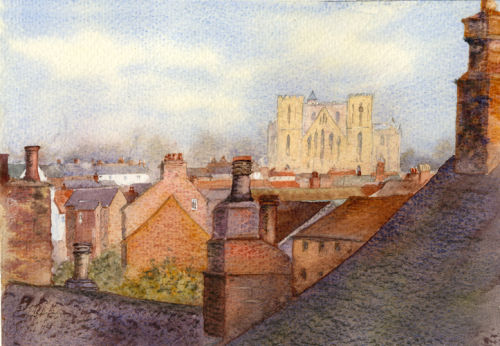 Over the Rooftops (watercolour) by Heather Powell