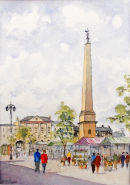 Ripon Market (watercolour) by Heather Powell