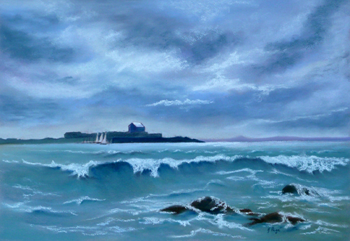 High Tide at Elie (Pastel) by Helen Page