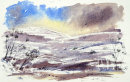 Winter in the Dales (watercolour) by Hilary Squires