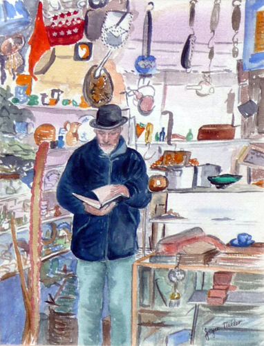 Uncle Wainwright's - Masham (watercolour) by Joyce Miller