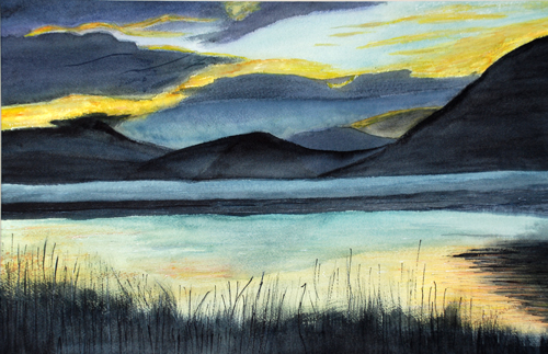 Bassenthwaite Lake, Cumbria (watercolour) by Majorie Robinson
