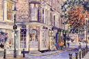 Drum and Monkey, Harrogate (watercolour) by Mike Ibbetson