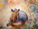 Mother and Child (watercolour) by Rosie Muncaster