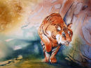 On the Prowl (watercolour) by Rosie Muncaster