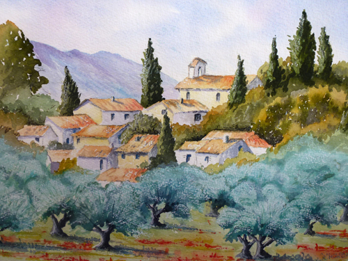 The Olive Grove (watercolour) by Rosie Muncaster