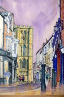 Ripon Minster through Kirkgate (watercolour) by Mike Ibbetson