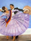 Spanish Dancers (Oil on stiff paper) by Joyce Hope
