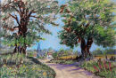Tranquil Country Lane (pastel) by Joyce Miller