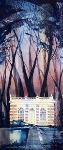 Banqueting Hall, Studley Royal (watercolour) by Derek Hopper