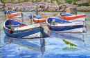 Staithes Boats (watercolour) by Brian Nixon