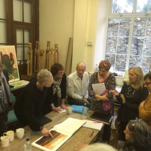 IN DISCUSSION WITH OTHER ARTIST AT NEWLYN SCHOOL OF ART