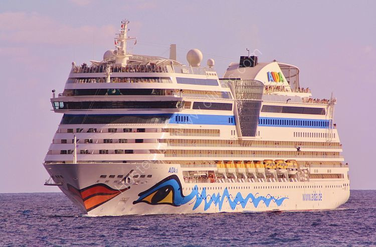 Ref C-LAD3 Aida Sol Cruise Liner Aida Cruise Line Approaching Madeira 2013 (C)RLT Aviation And Maritime Images 2018