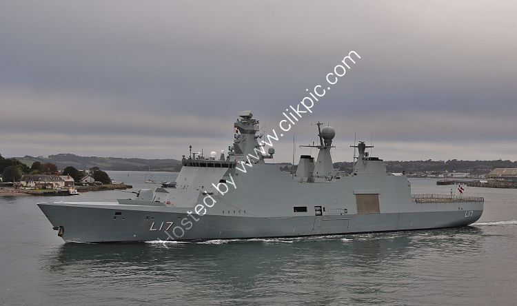 RDNAMP-2 HDMS Esbern Snare L17 Absalon  Class Amphibious Support Ship Royal Danish Navy Leaving Devonport Dockyard Plymouth Devon GB 2020(C)RLT Aviation And Maritime Images 2020 opt