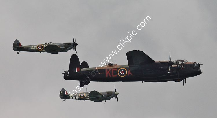 Ref-BMF35 Avro Lancaster1 & S-SpitfireXVI (FG) & S-SpitfireIX (BG) Battle Of Britain Memorial Flight Bournemouth Hampshire Gt Britain 2014 (C)RLT Aviation And Maritime Images 2018 opt