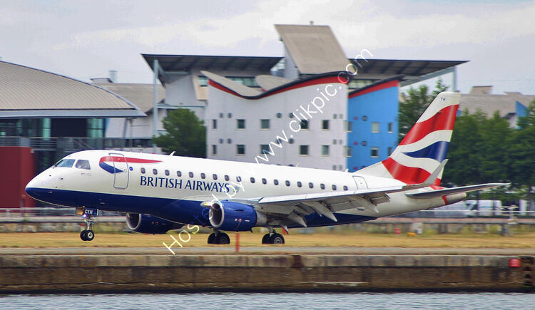 Ref-ERJ13 Embraer ERJ 170 BA-Cityflier G-LCYH London City Airport London Gt Britain-2015 (C) All Copyrights Reserved-2021 RLT Aviation And Maritime Images.