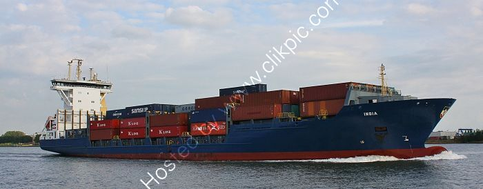 Ref FCT-121 India Container Feeder Ship Port Of Rotterdam Holland 2015 (C)RLT Aviation And Maritime Images 2018 opt