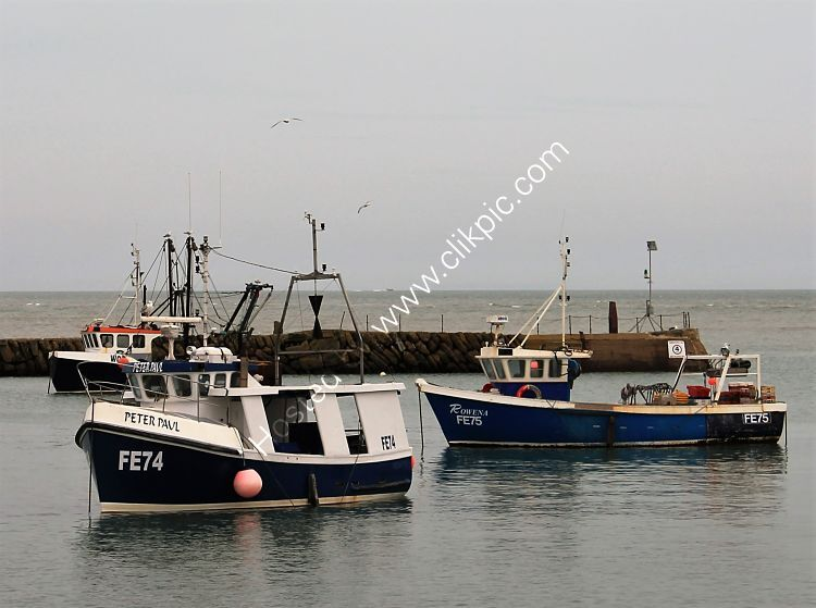 Ref-TFE6 Trawlers In Folkstone Harbour Kent GB FE 74-Peter Paul FE 75 Rowena 12-04-2014 (C)RLT Aviation And Maritime Images 2020 opt