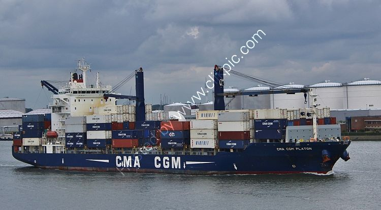 Ref-GCT36 CMA-CGM Platon Geared Container Ship Vlaardingen Port Of Rotterdam Holland 2015 (C)RLT Aviation And Maritime Images  2018 opt