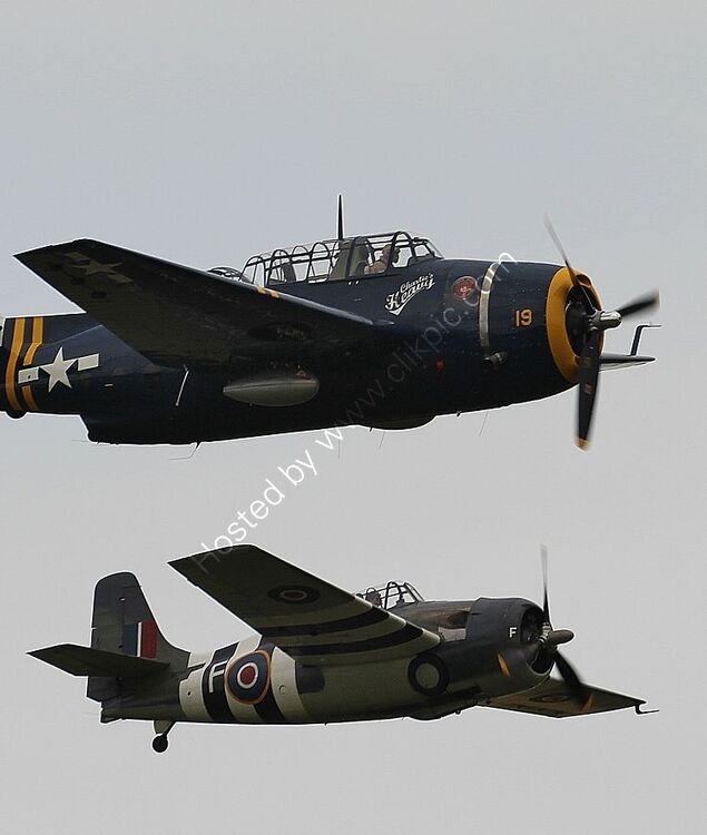 Ref-GGI-3 Grumman TBM3 Avenger  HB-RDG Privately Owned & Grumman FM2 Wildcat G-RUMW Privately Owned Duxford Aerodrome Cambs GB 2016 (C)RLT Aviation And Maritime Images 2018 opt
