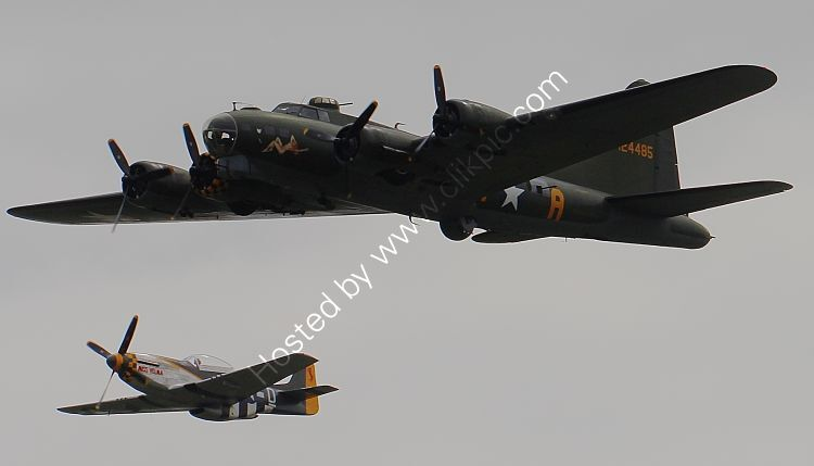 Ref-GMF26 Boeing B17G Flying Fortress 124485 G-BEDF 'Sally B' & NA P51D Mustang 44-84847 N251RJ Duxford Aerodrome Cambridgeshire GB 2010 (C)RLT Aviation And Maritime Images 2018 opt