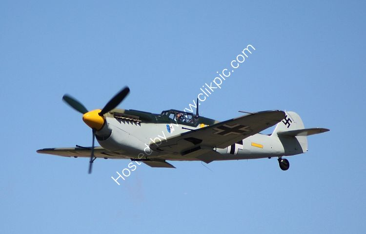Ref-HIS-1 Hispano HA112M Buchon (Spanish Built ME109) Yellow 10 Luftwaffe G-AWHK Private Owner Duxford Cambs GB 2015 (C)RLT Aviation And Maritime Images 2018 opt