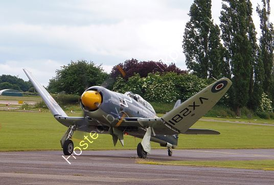 Ref-HSF5 Hawker Sea Fury T20S Livery Royal Navy OW-Naval Aviation Ltd VX281 G-RNHF North Weald Aerodrome Essex Gt Britain 2013 (C) All Rights RLT Aviation And Maritime Images  opt