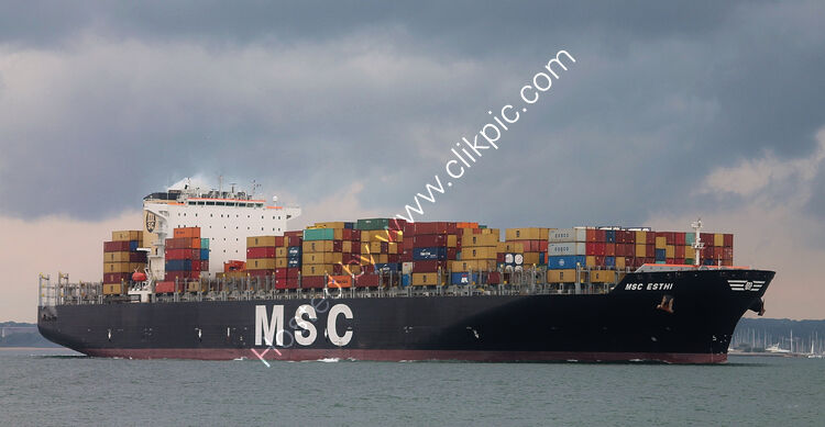Ref-OCT578 MSC Esthi Container Ship Southampton Water Hampshire Gt Britain 2020 (C)RLT Aviation And Maritime Images 2020