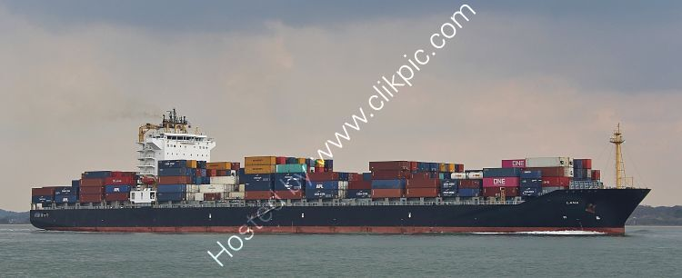 Ref-OCT581 Lana Container Ship Calshot Southampton Water Hampshire Gt Britain 2021 (C)Copyright Reserved 2021 RLT Aviation And Maritime Images opt