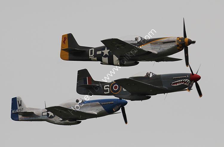 Ref-P51-74 Three Privately Owned Preserved NA P51 Mustangs In Formation At Duxford Aerodrome Cambridgeshire Gt Britain 2016 (C)RLT Aviation And Maritime Images 2018 opt