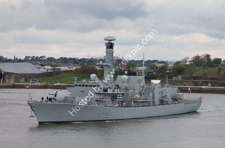 Ref-RNGB(FRG)-152 HMS Portland F79 Type 23 Duke Class (ASW) Frigate Royal Navy Leaving RN Devonport Dockyard Plymouth Devon GB 2021 (C)Copyright Reserved RLT Aviation And Maritime images 2021