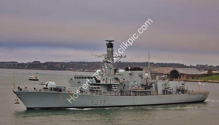 Ref-RNGB(FRG)116 HMS Richmond F239 Duke Class Type 23 Frigate Royal Navy Leaving Devonport Dockyard Plymouth Devon Gt Britain 2020 (C)RLT Aviation And Maritime Images 2020 opt
