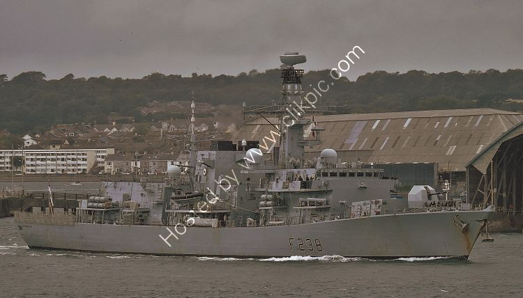 Ref-RNGB(FRG)71 HMS Northumberland F238 Royal Navy Type 23 Duke Class Frigate Leaving RN Devonport Dockyard Plymouth GB 2020 (C)RLT Aviation And Maritime Images 2020 opt