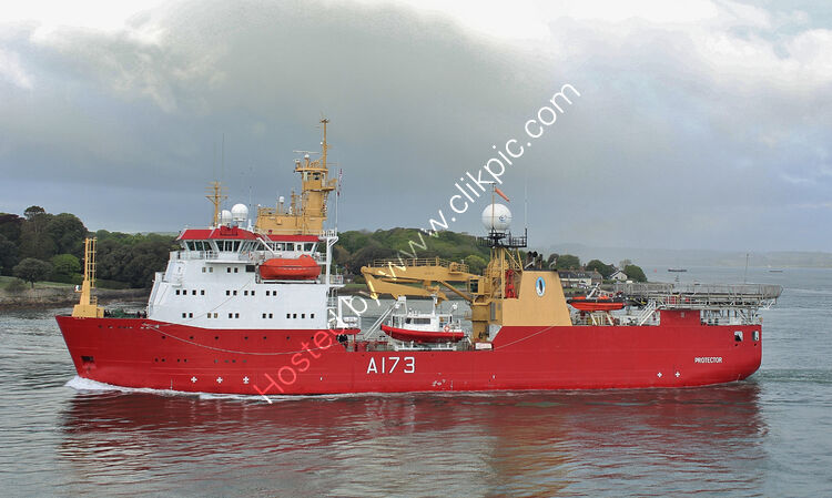 Ref-RNGB(IPRS)12 Protector A173 Leaving Devonport Dockyard Plymouth Devon GB 2021 (C)Copyright Reserved 2021 RLT-Aviation And Maritime Images