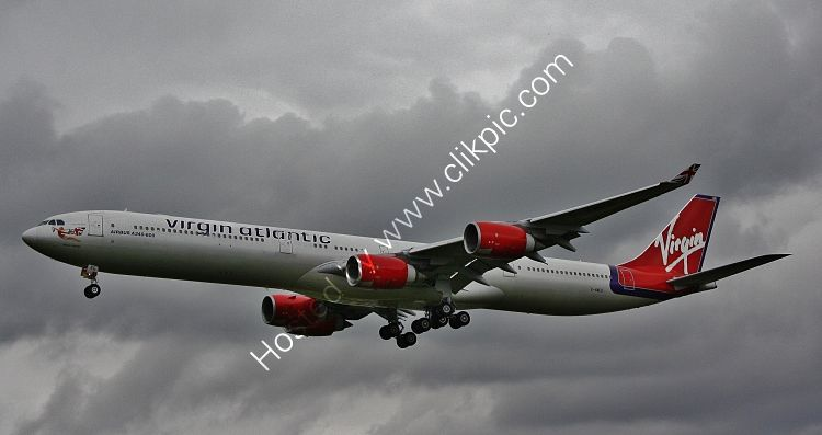 Ref A340-4 Airbus A340-642 G-VMEG Virgin Atlantic Airways London Heathrow Airport Gt Britain 2012 (C)RLT Aviation And Maritime Images 2018
