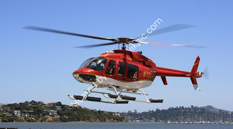 Ref B407-3 Bell 407 Jet Ranger N73SF Sausalito California USA 2013 (C)RLT Aviation And Maritime Images 2018 opt