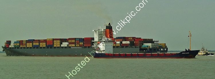 Ref CSSC-1 Nova Cura General Cargo Ship For Ipswich Docks Maule Container Ship Heading To Sea River Orwell Felixstowe Suffolk Gt Britain 2013 (C)RLT Aviation And Maritime Images 2018 opt