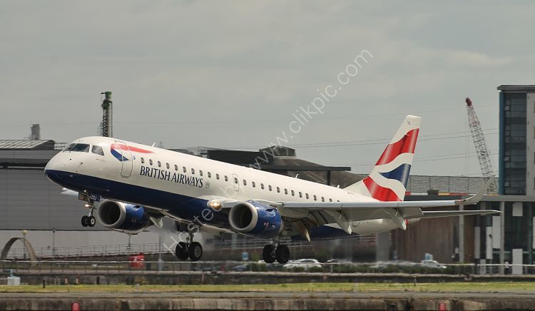 Ref ER190-4 Embraer ERJ-190SR G-LCYJ BA Cityflyer London City Airport London Gt Britain 2017 (C)RLT Aviation And Maritime Images 2018