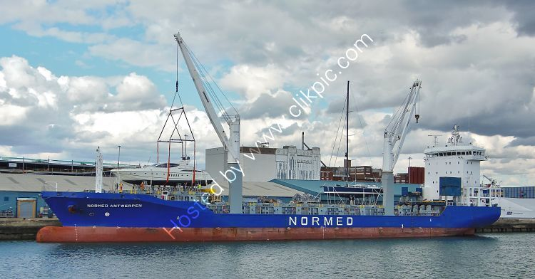 Ref GCO(G)56 Normed Antwerpen Geared General Cargo Ship Loading Yachts Southampton Docks Hampshire Gt Britain 2017 (C)RLT Aviation And Maritime Images 2018