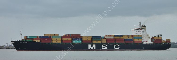 Ref OCT243 MSC Santhya Container Ship Felixstowe Docks Suffolk Gt Britain 2017 (C)RLT Aviation And Shipping Images 2018