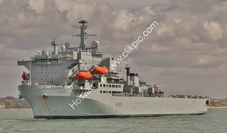 Ref RNGB-DL-31 RFA Argus  A135 Royal Navy Multi Role Dock Landing Ship Bournemouth Bay Hampshire Gt Britain 2014 (C)RLT Aviation And Maritime Images 2018 opt