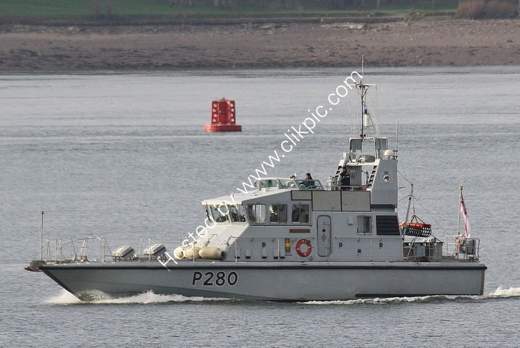 Ref RNGB(CPT)-1 HMS Dasher-P280 Patrol Vessel Royal Navy Plymouth Sound Devon Gt Britain 2013 (C)RLT Aviation And Maritime Images 2018